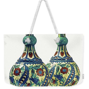 An Ottoman Iznik Style Floral Design Pottery Polychrome, By Adam Asar, No 21a - Weekender Tote Bag