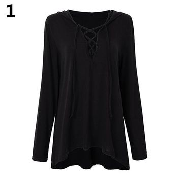 Women Sexy Low Cut V-Neck Lace Up Tie Casual Long Sleeve Top Hoodie Shirt Blouse