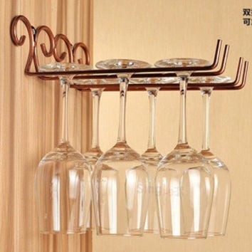 Classical Useful Fashion Bar Red Wine Goblet Glass Hanger Holder Hanging Rack Shelf hold up to 6 wine glasses HC11