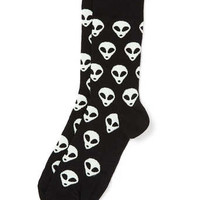 Black Alien Motif Socks - Men's Socks - Clothing