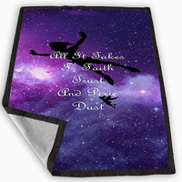 Disney Peter Pan Tinkerbell Quotes Nebula Galaxy Blanket for Kids Blanket, Fleece Blanket Cute and Awesome Blanket for your bedding, Blanket fleece **