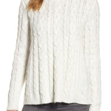 Press Trapeze Fit Cable Knit Sweater | Nordstrom
