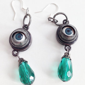 Doll Eye, Creepy Jewelry, Halloween Earrings, Hook Wire, Silver Plated, Evil Eyes, Doll Earrings