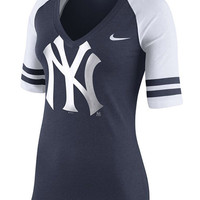New York Yankees Nike T-Shirt - Yankees Navy Blue Heather Logo Fan Top 1.4 Short Sleeve V-Neck