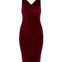 Burgundy Cowl Neck Velvet Cami Bodycon Dress