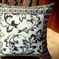 Applique abstract geometric pillow – Leaf sateen 20x20