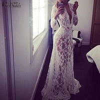 2017 Summer European Style Womens Sexy Lace Embroidery Maxi Solid White Dress Long Sleeve Deep V Neck Vestidos Plus Size S-XL