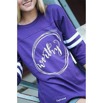Sassy Frass Captivated Worthy Rally Jersey Long Sleeve Bright Girlie T Shirt