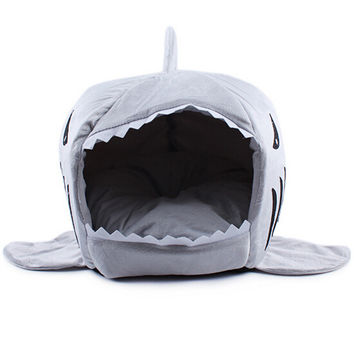 Warm Soft Dog House Cute Shark Shape