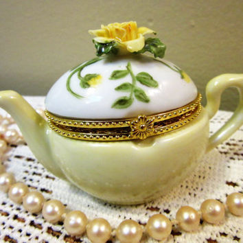 Teapot box pill trinket Box Yellow Rose Porcelain Ceramic Pottery Hand painted kiln fired by B.Marsh