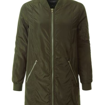 LE3NO Womens Water Resistant Fully Padded Long Parka Bomber Coat Jacket with Pockets