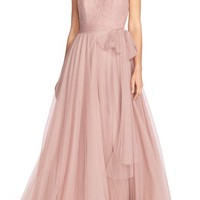 Watters 'Lisa' Illusion Yoke Lace & Bobbinet A-Line Gown | Nordstrom