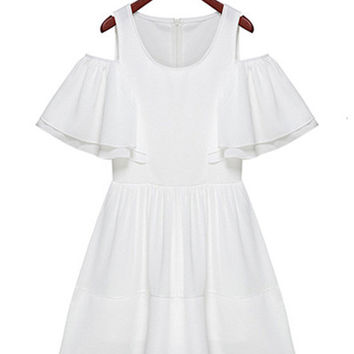 White Shoulder Cut-Out Ruffled Chiffon Mini Dress
