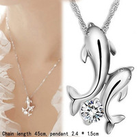 Cute 925 Silver Double Dolphin Rhinestone Short Chain Pendant Necklace Jewelry (Color: White) = 1706364356