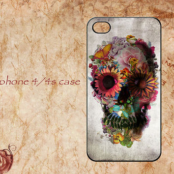 Personalized iphone 4 case,iphone 4s case,Floral Sugar Skull  iphone 4/4s hard case,Skull Flowers iphone cases