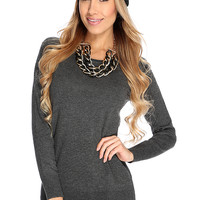 Charcoal Long Sleeves Casual Sweater Dress