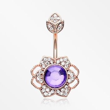 Rose Gold Antique Meadow Flower Belly Button Ring