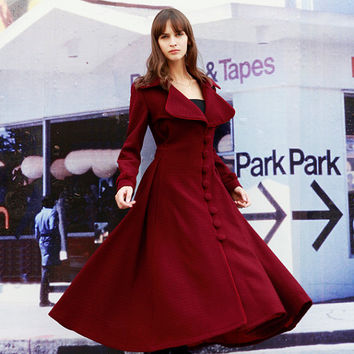 Wine Red Cashmere Coat Big Sweep Women Wool Winter Coat Long Jacket Tunic / Fast Shipping - NC419