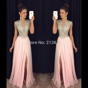 Baijinbai Fashion New Robe De Soiree Pink Long Evening Party Dress 2017 Crystals Beaded Chiffon New Year Formal Dresses7120902