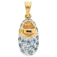 14kt yellow gold baby shoe with blue topaz (December birthstone)