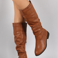 Wild Diva Lounge Slouchy Round Toe Riding Knee High Boots