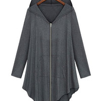 Hooded Long Sleeve Flounce Zippered Coat