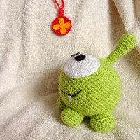 "Cute, Green OM NOM, Toy from Popular Game ""Cut the Rope"", Crochet  Amigurumi Toy"