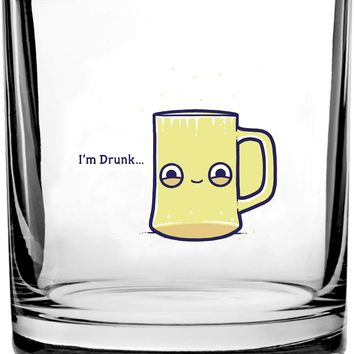 Randy Otter Drunk Empty Cup Pun Humor - 3D Color Printed Scotch Whiskey Glass 10.5 oz