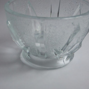 SALE: Vintage glass serving bowl / Sugar bowl / Candy bowl / Candy dish / Clear glass / Transparent glass / Leaves / Made in Poland / Craft