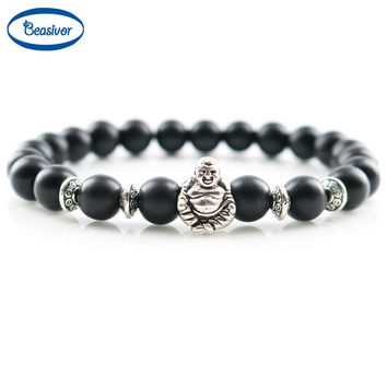Mala Bracelets Laughing Buddha Lucky Charm Bracelets & Bangles Onyx Stones beads Women Fashion Jewelry Men