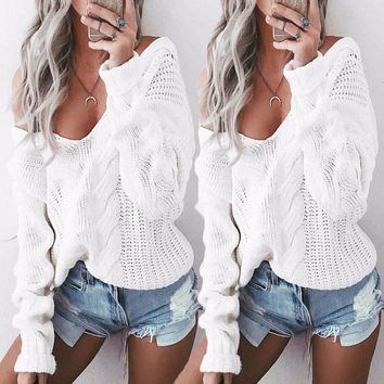 2017 NEW Womens Sexy V Neck Oversized Baggy Jumper Knitted Warm Chunky Sweater