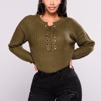Lace Up Twist Sweater - Olive