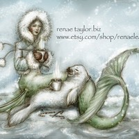 Cocoa Mermaid8x10 matted print by renaeleataylor on Etsy