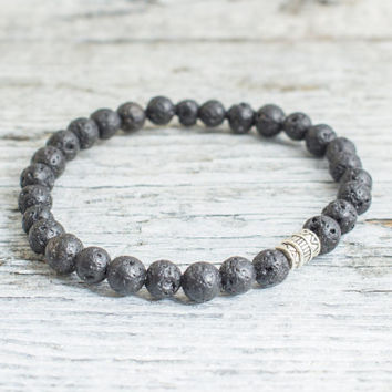 Black lava stone beaded stretchy bracelet, made to order yoga bracelet,  mens bracelet, womens bracelet