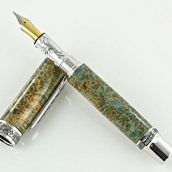 Custom Wooden Pen Beautiful Black Ash Burl Dyed Blue Custom Fountain Pen with Western Emperor MPZ Rhodium and Black Titanium 807FPXLC
