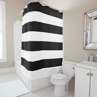 Basic Black and White Striped Shower Curtain