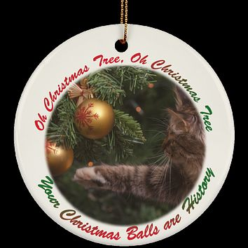 Gift For Cat Lovers Ceramic Christmas Ornament A Funny Cat Ornament Oh Christmas Tree