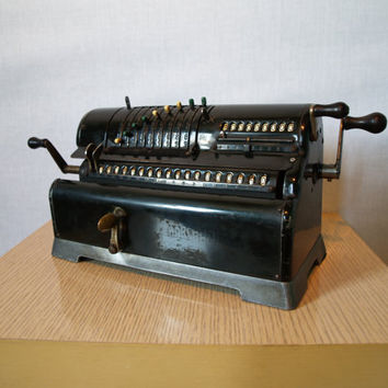100 YEAR OLD ANTIQUE Industrial Machine Early 1900s Vintage Mechanical Calculator made by Marchant in California Industrial Pinwheel Style