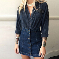 2016 New Fashion Autumn Denim Skirt Women Sexy Single Breasted High Waist Blue Mini Skirts Female A-line Pockets Jeans Saias