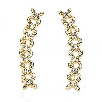 Gold Layered 02.156.0181 Leverback Earring, Flower Design, with White Cubic Zirconia, Polished Finish, Gold Tone