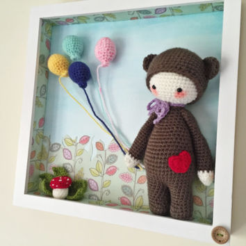 Crochet Amigurumi Bear in Box Frame Picture Decoration. Ideal for baby nursery. 13 inches square. Great gift idea