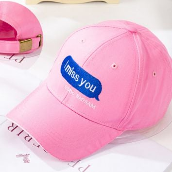 Pink I MISS YOU Embroidered Baseball Cap Hat