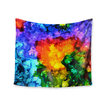 "Claire Day ""Karma"" Rainbow Paint Wall Tapestry"