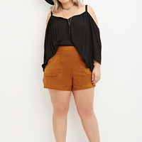 Plus Size Faux Suede Shorts