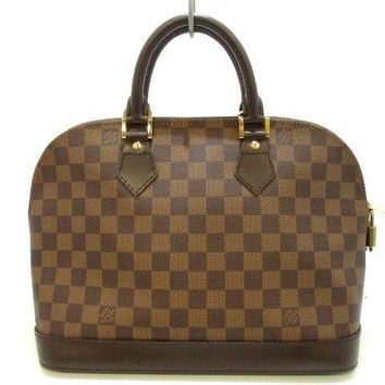 Auth LOUIS VUITTON Alma N51131 Ebene Damier Canvas FL0035 Handbag