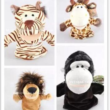 High quality,4pcs/lot,25cm large size, 4 style:Lion/Tiger/Deer/Orangutan  doll,Baby Plush Toy,Hand Puppets,Talking Props
