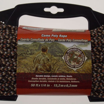 "Secureline Woodland Hills Camo Poly Rope 50'x1/4"" Camouflage Outdoor Hiking"