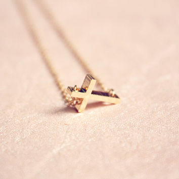 sideways petite gold cross necklace - dainty, delicate, minimalist everyday modern jewelry