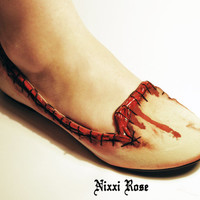 Zombie flesh skin flats pumps