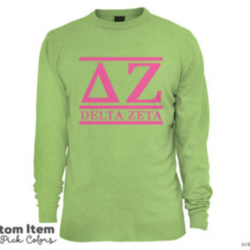 DZ Delta Zeta Custom Comfort Colors Classic Sorority Long Sleeve Tee